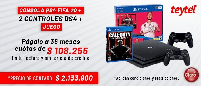 consola Ps4 fifa 20 2 + controles DS4 teytel claro